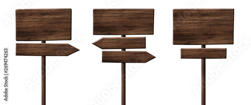 Obraz Different wooden direction arrow signposts or roadsigns made of dark wood - fototapety do salonu