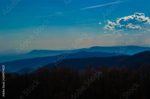 Fotografie, Obraz  a scenic layered view of a blue ridge appalachian mountains