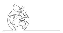 Continuous Line Drawing Of World Planet Earth An Apple Fruit