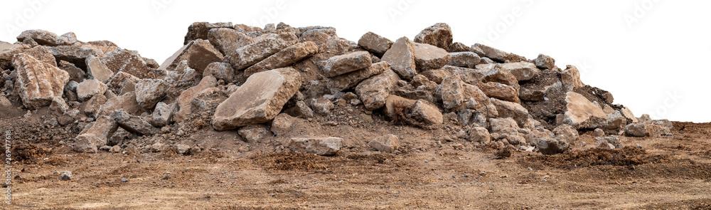 Fototapeta Isolated views of concrete debris piles on the ground.