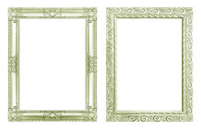 Set 2 - Antique Green Frame Isolated On White Background, Clipping Path