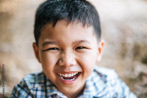 Close-up Happy face boy Fotobehang