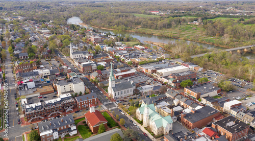 Fotografie, Obraz  Beautiful Colorful Aerial Perspective Over Downtown Fredricksburg Virginia