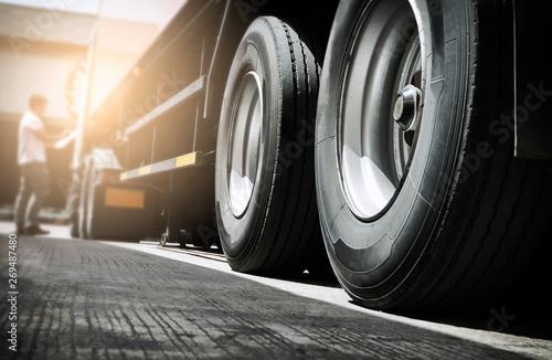 Obraz na plátně  truck transportation, close up truck wheels