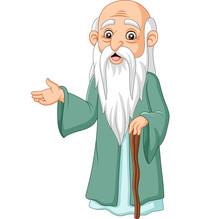 Cartoon Philosopher Thinker On White Background