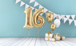 canvas print picture Happy 16th birthday party celebration balloon, bunting and gift box. 3D Render