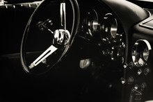 Dashboard Of Classic Car, Old Vintage Vehicle