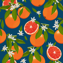 Seamless Pattern Orange Fruits With Flowers And Leaves On Blue Background. Grapefruit Vector Illustration.