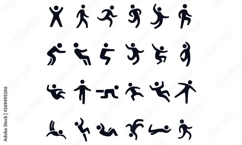 Fototapety, obrazy: Active lifestyle people and vitality vector icon set