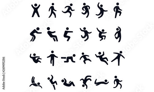 Fotografia  Active lifestyle people and vitality vector icon set