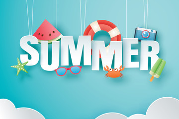 Hello summer with decoration origami hanging on blue sky background. Paper art and craft style. Vector illustration of life ring, ice cream, camera, watermelon, sunglasses.