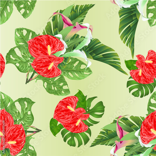 Seamless texture tropical flowers floral arrangement, with beautiful lilies Cala and anthurium and banana leaves and monstera vintage vector illustration editable hand draw