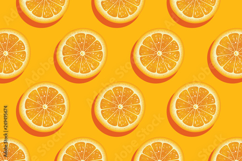 Foto Slices of fresh orange summer background.