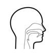 Głowa człowieka, nos i gardło. Ilustracja wektorowa