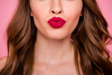 Cropped Close Up Photo Amazing Beautiful She Her Lady Attractive Show Ideal Plump Allure Rose Lips Pomade Lipstick Hide Eyes Wear Cute Shiny Colorful Dress Isolated Pink Rose Bright Vivid Background