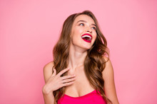 Close Up Photo Beautiful She Her Lady Open Mouth Hear Funky Humorous Story Hand Arm Chest Perfect White Teeth Wear Cute Shiny Colorful Formal-wear Dress Isolated Pink Rose Bright Vivid Background