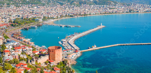 Landscape with marina and Kizil Kule tower in Alanya peninsula, Antalya district Fototapeta