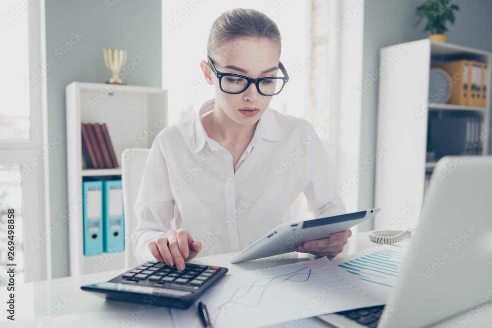 Fototapety, obrazy: Close up photo beautiful she her business lady count freelance salary calculating income investment hold watch compare data hands arms e-reader notebook table wear specs formal-wear bright office