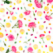 canvas print picture Roses flowers and petals with bright sugar candy's on white background. Flat lay, top view. Creativity pattern