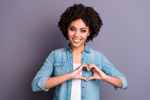 Close Up Photo Beautiful Amazing She Her Dark Skin Lady Playful Cheer Flirty Hands Arms Make Heart Figure Form Celebrating Cardiac Safety Holiday Wear Casual Jeans Denim Shirt Isolated Grey Background