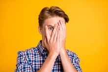 Close Up Photo Amazing He Him His Man Arms Fingers Hiding Eyes Full Fear Oh No Facial Expression Epic Fail Lost Scary Movie Wear Casual Plaid Checkered Shirt Outfit Isolated Yellow Bright Background