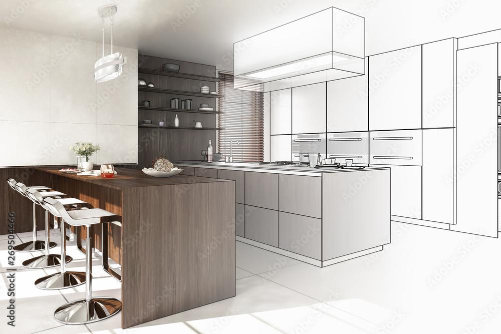 Fototapeta Contemporary Designed Kitchen (drawing)