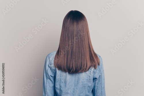 Back rear behind view photo of charming classy stunning luxury lady good-looking peaceful positive cute nice wear fashionable spring youth outfit isolated grey background
