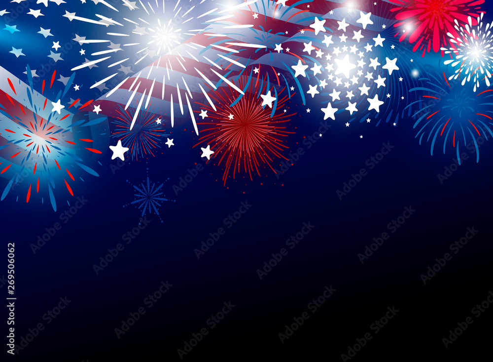 Fototapeta USA 4th of july independence day design of american flag with fireworks vector illustration
