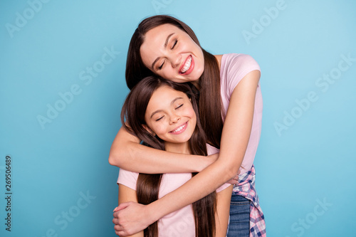 Fototapeta Close-up portrait of two nice-looking cute charming winsome attractive lovely sw