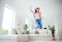Full Length Body Size Low Angle View Photo Nice Cute Funky Funny Hipster People Hold Hand Device Dance Fool Careless Free Time Wavy Curly Hairdo Stylish Trendy Plaid Shirt Jeans Room Apartment