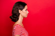 Leinwandbild Motiv Profile side view photo of concentrated charming pretty lady ready work solve solution lovely feel peaceful calm dressed fashionable outfit isolated red background