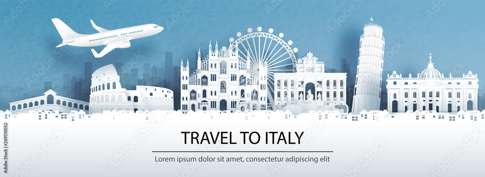 Fototapety, obrazy: Travel advertising with travel to Italy concept with panorama view of city skyline and world famous landmarks in paper cut style vector illustration.