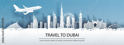 Travel advertising with travel to Dubai concept with panorama view of city skyline and world famous landmarks in paper cut style vector illustration Wallpaper Mural