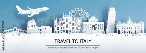 Travel advertising with travel to Italy concept with panorama view of city skyline and world famous landmarks in paper cut style vector illustration.