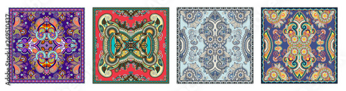 Photo set of authentic silk neck scarf or kerchief square pattern design
