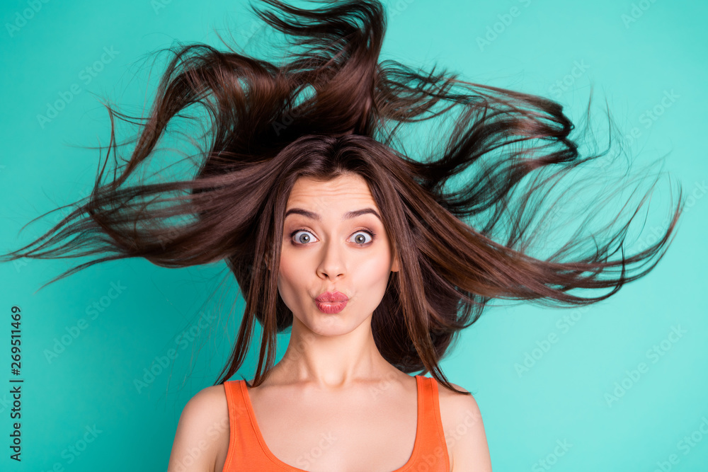 Fototapety, obrazy: Close up photo amazing beautiful her she lady send air kisses friends weekend vacation wind blowing hair flight healthy condition wear casual orange tank-top isolated bright teal turquoise background