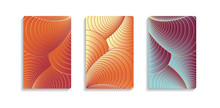 Three Abstract Covers With Shells Curves In Orange Blue Shades
