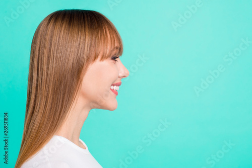 Valokuva  Profile side view photo of cute girlish people person youth wear modern spring f