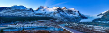Panorama View Of Athabasca Glacier At Columbia Icefield Parkway In Jasper National Park ,Canada