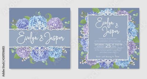 Fotografia, Obraz Set for two wedding invitation, greeting card, save date, banner