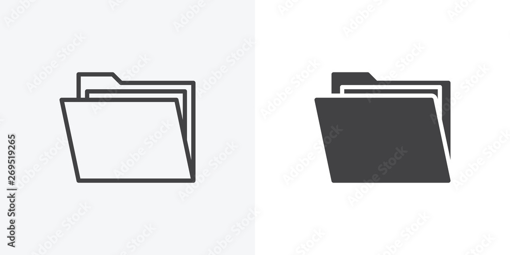 Fototapeta Open file folders icon. line and glyph version, outline and filled vector sign. Folder with documents linear and full pictogram. Symbol, logo illustration. Different style icons set