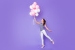 canvas print picture - Full length body size view portrait of her she nice-looking attractive lovely charming cheerful cheery girl dancing with helium balls isolated over violet purple vivid shine bright background