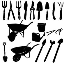 Isolated, Set Of Garden Tools...