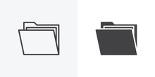 Open File Folders Icon. Line And Glyph Version, Outline And Filled Vector Sign. Folder With Documents Linear And Full Pictogram. Symbol, Logo Illustration. Different Style Icons Set