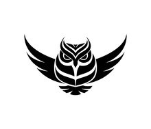 Vector Illustration With The Image Of An Owl Pattern In Design On A Black White Background.