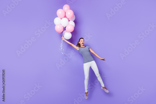Photo sur Aluminium Kiev Full length body size view portrait of her she nice attractive lovely girlish cheerful cheery girl having fun with helium balls isolated over violet purple vivid shine bright background