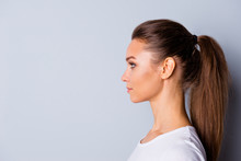 Close Up Side Profile Photo Beautiful Amazing She Her Lady Perfect Ideal Appearance Look Empty Space Imaginary Flight Listen Good News  Wear Casual White T-shirt Isolated Grey Background