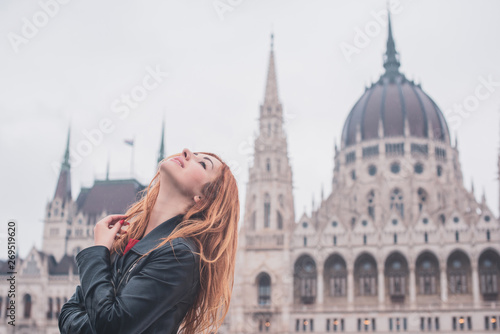 Foto auf AluDibond Budapest Tourism concept. Beautiful woman look at view of city streets, centre of city. Vacation in Budapest