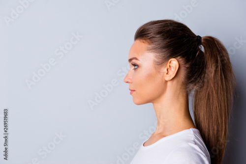 Fotomural Close up side profile photo beautiful amazing she her lady perfect ideal appeara