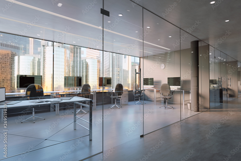 Fototapeta Glass Office Room Wall Mockup - 3d rendering